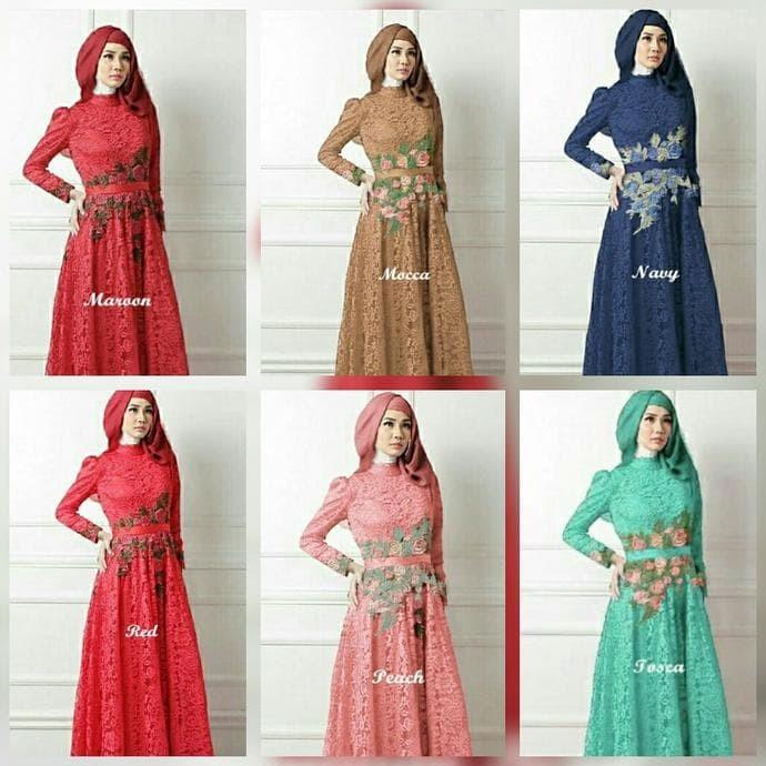 Jual Promo Gamis Lebaran 2017 Baju Pesta Muslimah Gamis Brokat