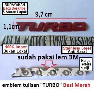 harga Emblem ori tulisan turbo merah toyota bmw mitsubishi chevrolet isuzu Tokopedia.com