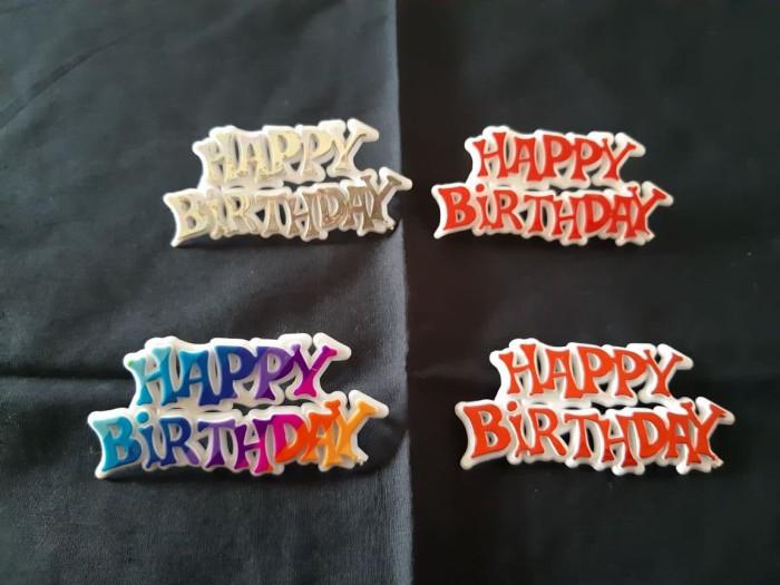 Hiasan Cake Topper Happy Birthday Papan Tempel (Merah Gold Pelangi)