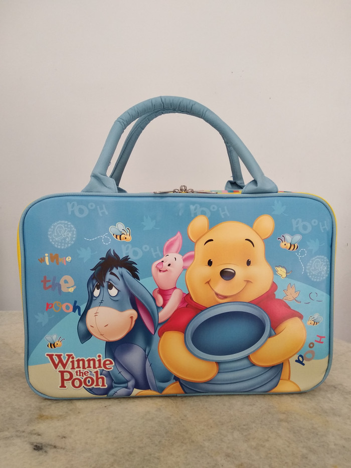 Tas koper travel kanvas besar Winnie the pooh eeyore piglet tigger