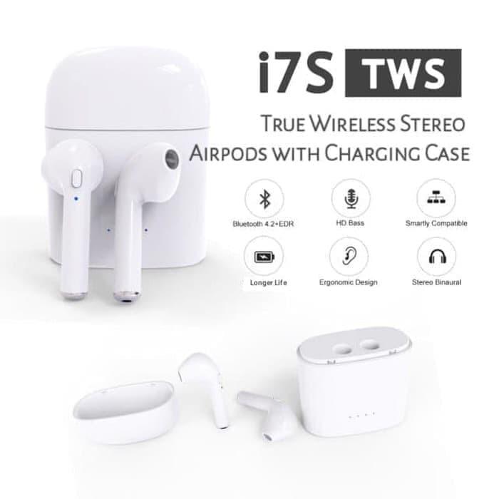 harga I7s headset bluetooth wireless sport true earphone airpods tws i7s Tokopedia.com