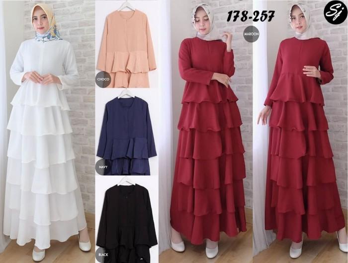 Jual Dress Gamis Putih Polos Baju Lebaran Haji Umrah Pesta