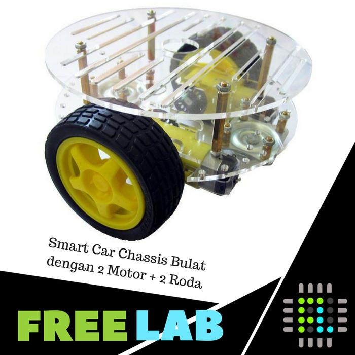 harga Smart car round chassis bodi robot line follower 2 motor + 2 roda Tokopedia.com