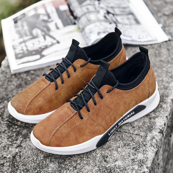 Sepatu Sneaker Cowok Korea Murah Impor Brown To Action Fashion Casual