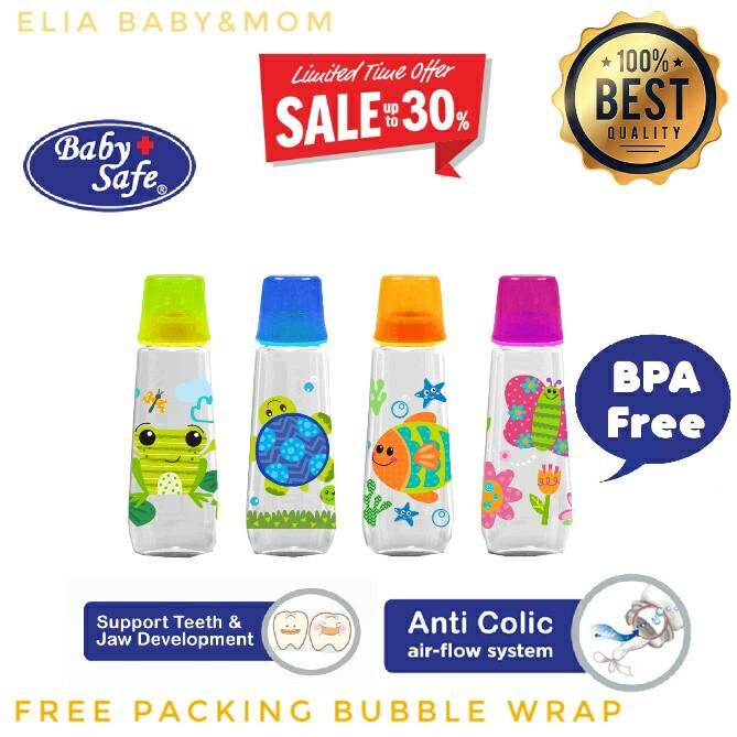 PROMO Baby Safe JS 002 Feeding Bottle 250 ml Botol Bayi Botol Anak - Merah Muda