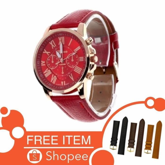 Geneva Fashion Leather Jam Tangan Wanita - Merah - TPT Diskon