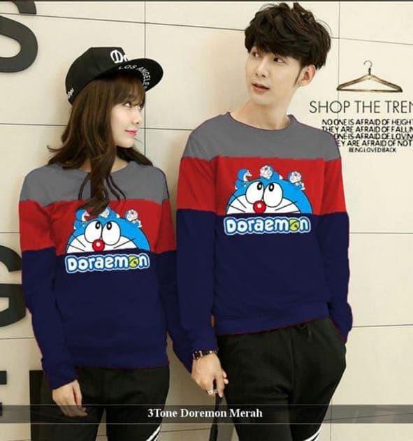 harga Damai fashion - baju couple sweater 3tone dora - konveksi murah Tokopedia.com