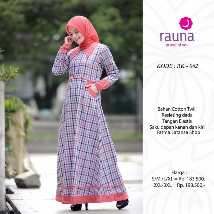 Gamis katun rauna rk 062  gamis kotak-kotak baju muslim wanita dress -  Merah Salem 87d009191c
