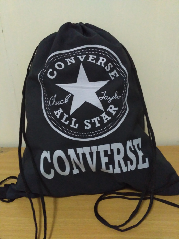77f5cbb35d Jual tas gymsack kain serut hitam converse string bag drawstring ...