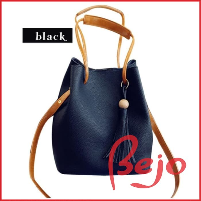 Tas 2in1 DRAWSTRING Women Fashion Bag Tassel Bucket Leather Korean Tas 288b9007e4