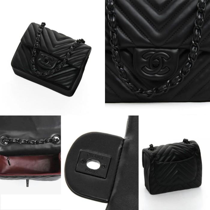 b74b0cdf47f4 Jual Chanel Chevron Quilted Square Mini Flap 1115V + Box with ...