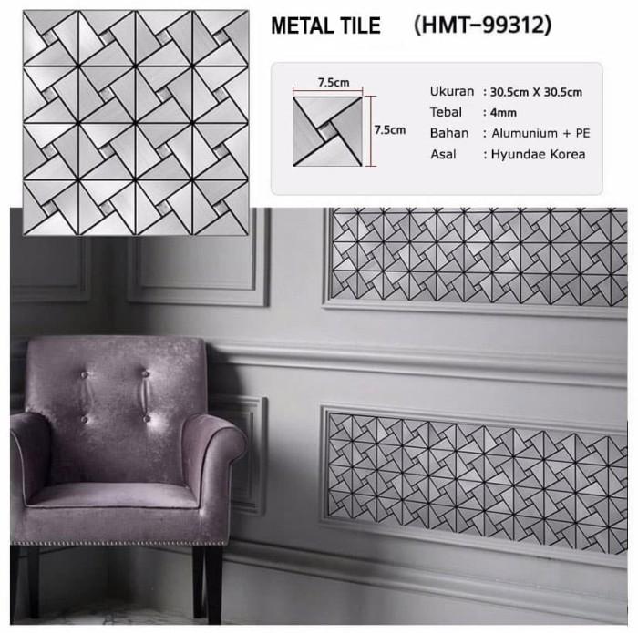 new hyundae metal tile sticker hmt 99312 antique silver - 30cm x 30cm