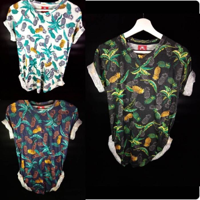 Kaos Baju motif Daun Nanas print 3d Tshirt Fashion Pria, cowok distro