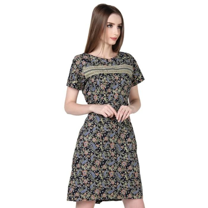 dress batik wanita termurah rianty batik valensia - black