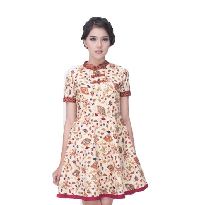dress batik wanita termurah rianty batik clarine - cream