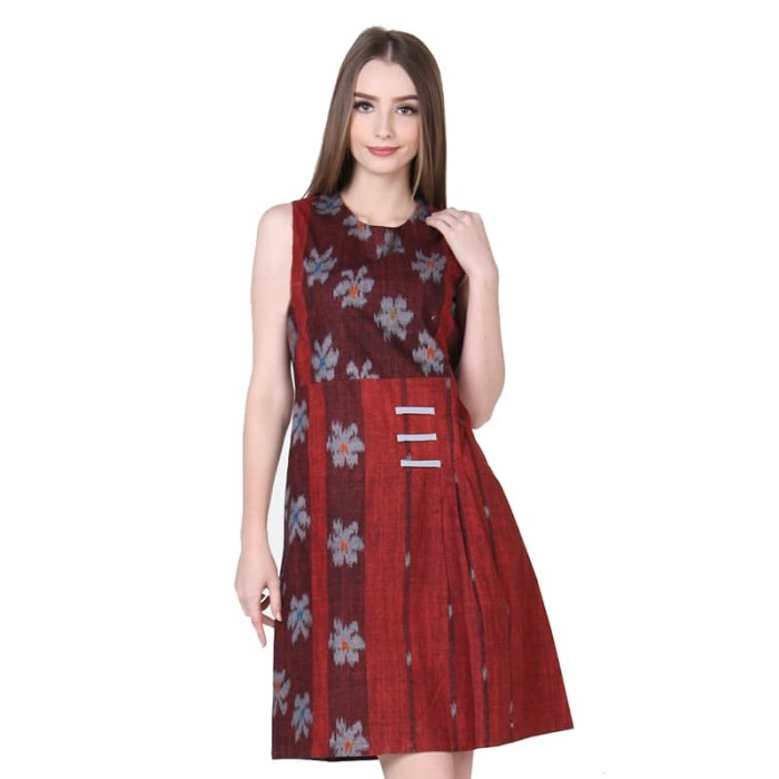 dress batik wanita termurah rianty batik lexia - red