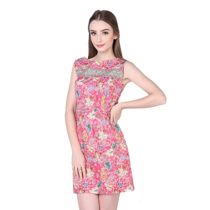 dress batik wanita termurah rianty batik maylea - pink