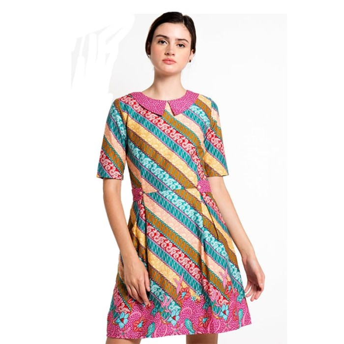 dress batik wanita termurah rianty batik neva - multicolor