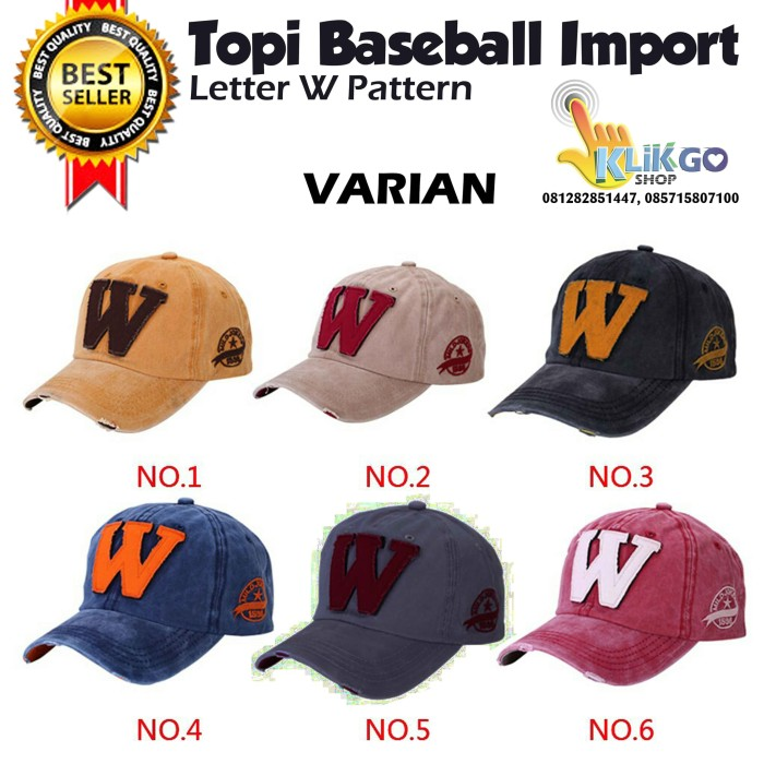 Jual TOPI BASEBALL IMPORT LETTER W   TOPI PRIA WANITA  SNAPBACK ... 6e9dc09c79