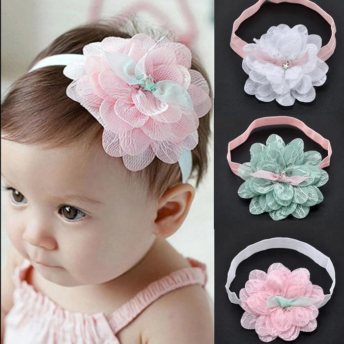 Bandana headband bayi big flower