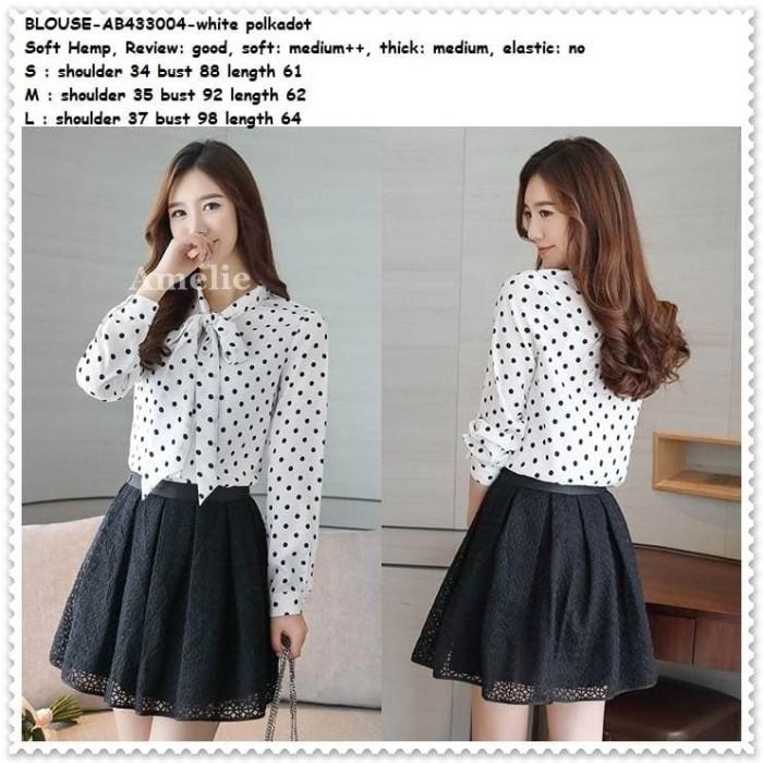 harga Baju atasan kemeja polkadot putih blouse wanita korea import ab433004 Tokopedia.com