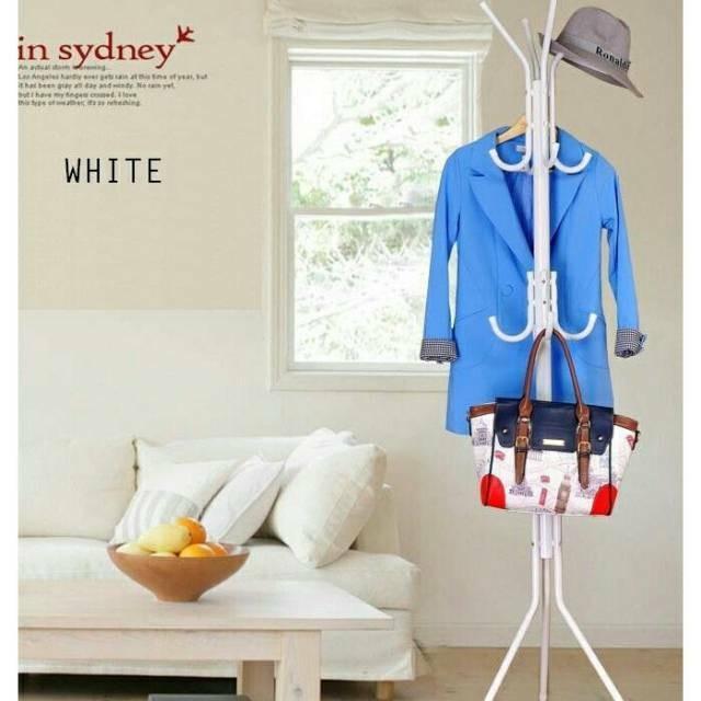 Gantungan Baju Tas Jacket Pakaian Standing Hanger Rak Lemari Bag - Putih