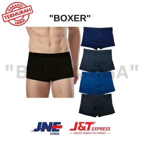 Zada Celana Dalam Boxer Kolor Pria Polos Basic Elastis isi 4 pcs - Multi c1777bcc45