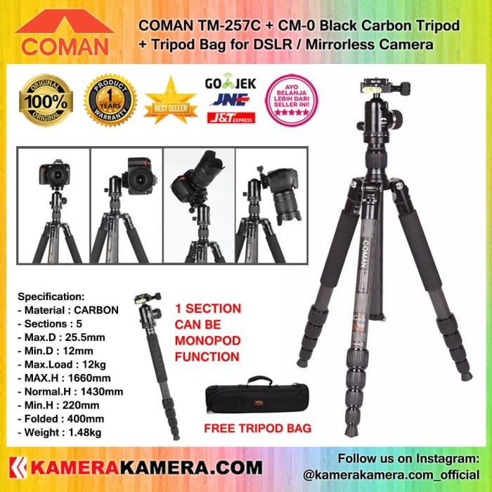 harga Coman tm-257c + cm-0 black carbon tripod + tripod bag for dslr camera Tokopedia.com