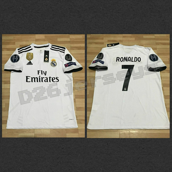 f4c1dda0ac3 Jersey Real Madrid home 2018 2019 OFFICIAL+ Cetak nama +Full Patch UCL
