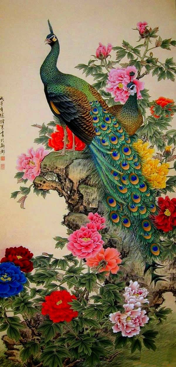 harga Lukisan pemandangan burung merak indah dan cantik Tokopedia.com