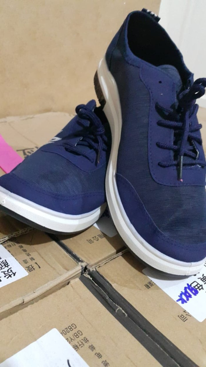 Jual Sepatu Sneaker Cowok Korea Murah Impor Deep Blue Pulse Style Salo Kasual Denim Pria Coklat Casual