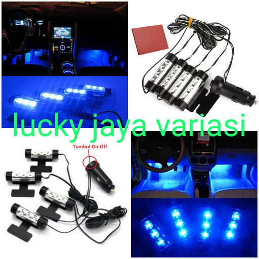 harga Lampu kolong dashboard led footstap tempel model lighter biru Tokopedia.com