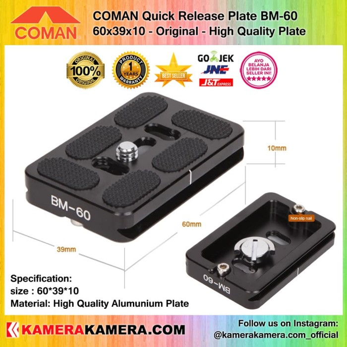 harga Coman bm-60 quick release plate size 60*39*10 original for ballhead Tokopedia.com