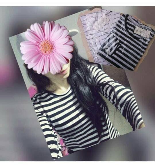 harga Atasan wanita baju wanita kaos belang salur stripe casual cantik Tokopedia.com