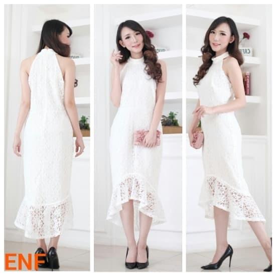 Jual Branded Bomfash Long Dress Pesta Brokat Baju Terusan