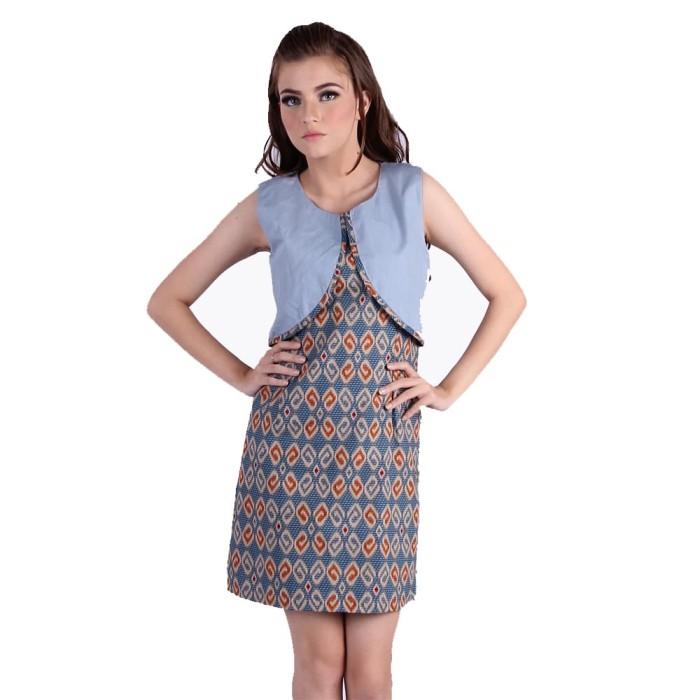 Dress baju batik wanita murah rianty batik kalyca - biru muda m