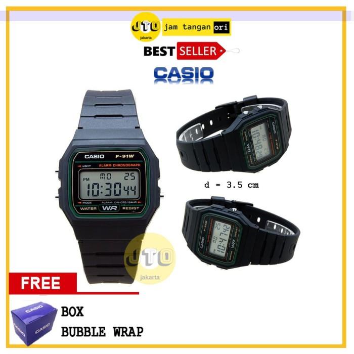 Casio Original Jam Tangan Pria Hitam Karet F 91w 1s - Smart4K Design ... 24835778c3