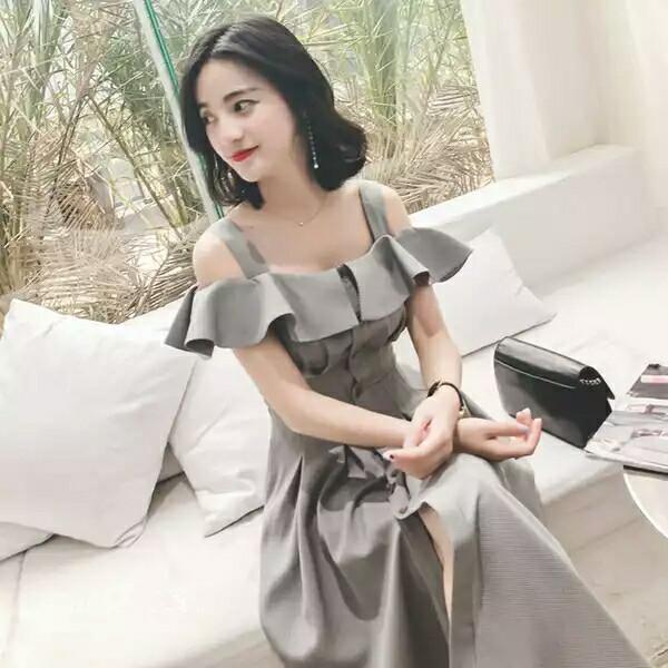 Jual Cw 718 Dress Pesta Impor Midi Dress Jalan Jalan Kotak Hitam