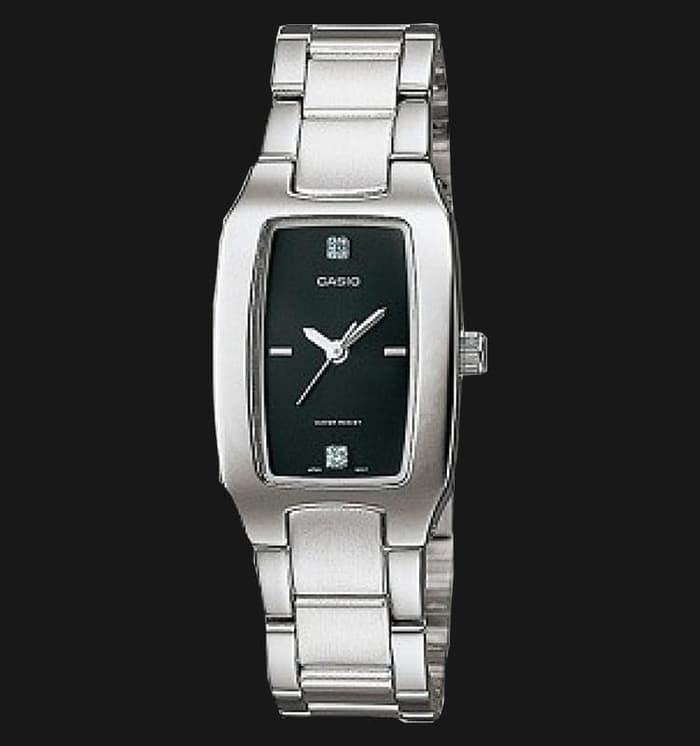 Jam Tangan Wanita Casio LTP-1165A-1C2DF Black Silver Stainless Steel