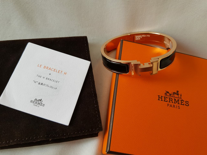 89f66268f4e26 Jual Authentic BNIB gelang Hermes Clic Clac bracelet black rose gold ...