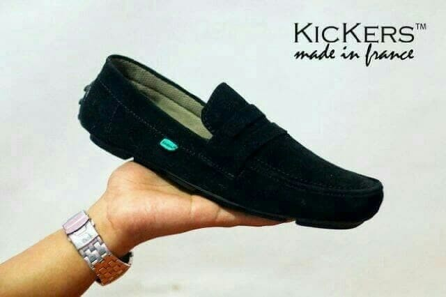 Sepatu Slip On Kickers Casual Pria Kulit Asli Slop mocasin Murah - Hitam 96f1b5ed29
