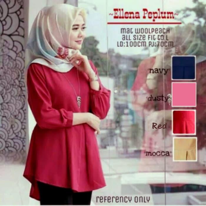 Fashion muslim baju atasan wanita ellena peplum blouse tunik cantik