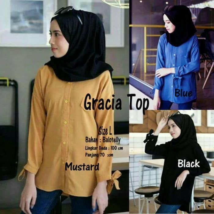 Fashion muslim baju atasan wanita gracia top blouse tunik murah