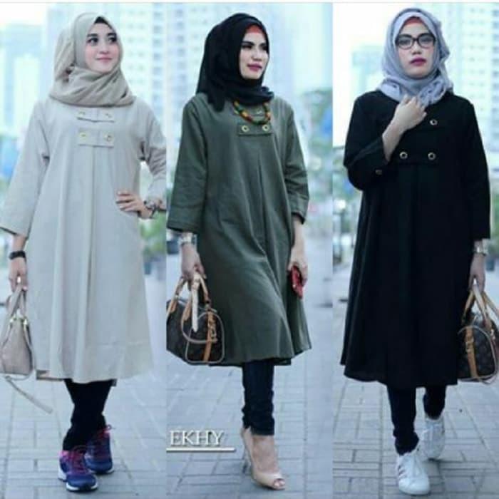 Fashion atasan blouse wanita baju muslim blus muslim ekhy tunik murah