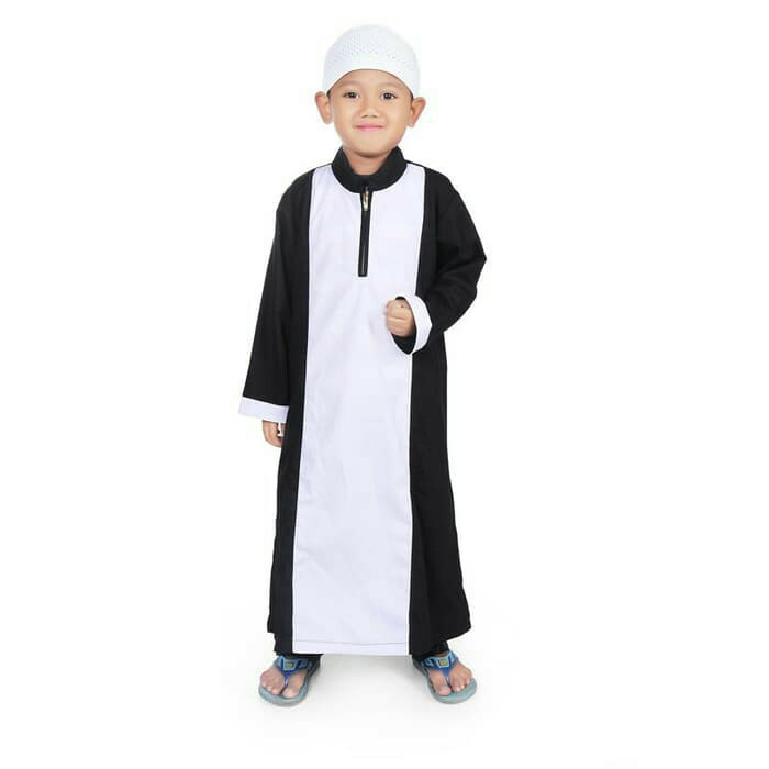 Jual Baju Gamis Koko Laki Hitam Putih Polos Bahan Katun 1 10 Tahun