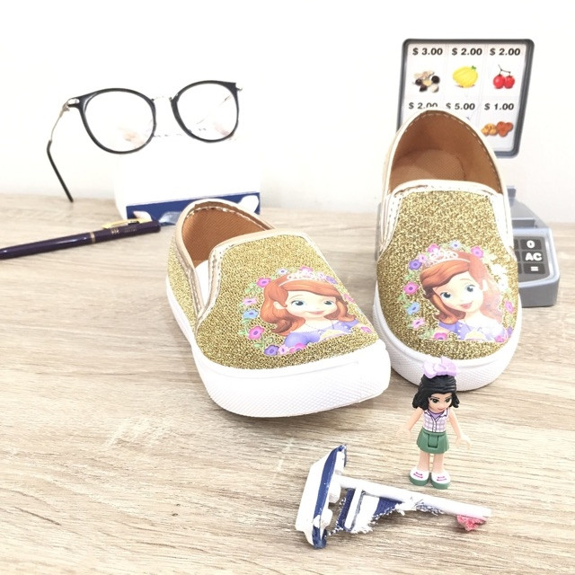 Sepatu walker pesta anak import Sofia gold blink glitter slip on