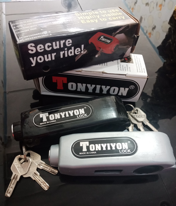 Griplock Kunci Stir Stang Sepeda Motor TONYIYON Grip Lock Bahan Besi - Abu-abu Muda