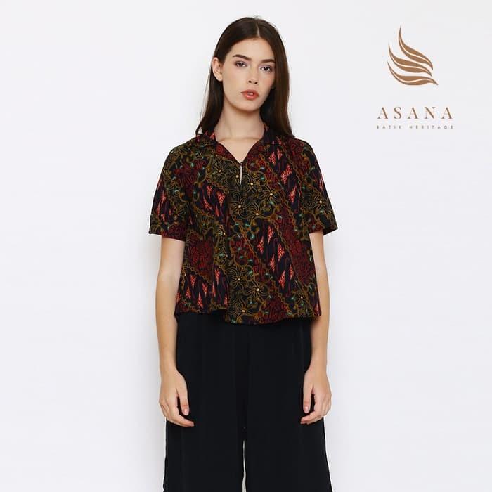 harga Asana mandau woman blouse batik wanita - black fs Tokopedia.com