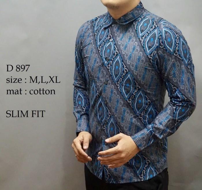 Baju Batik Cowok Lengan Panjang Model Slimfit Mat Katun Berkualitas 08dc0949d6