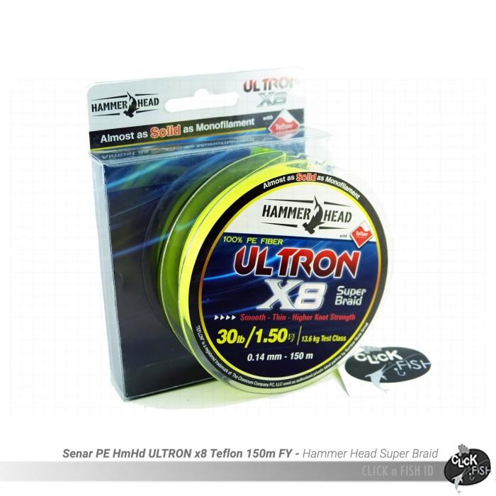 harga Senar pe#1.5 hammerhead ultron x8 30lbs/0.14mm - 13.6kg f yellow -150m Tokopedia.com